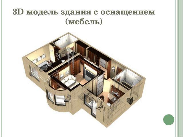 3D модель здания с оснащением (мебель)