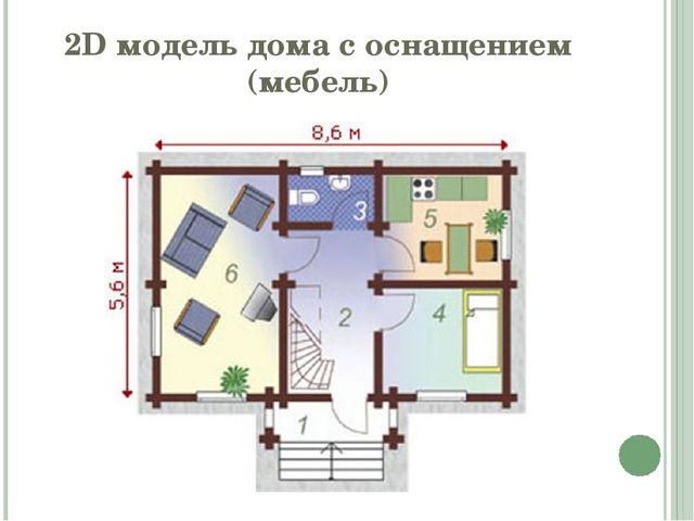2D модель дома с оснащением (мебель)