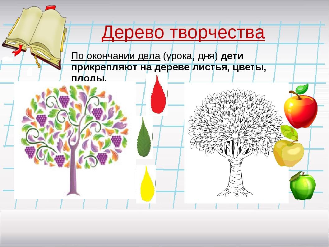 Дерево творчества По окончании дела (урока, дня) дети прикрепляют на дереве л...