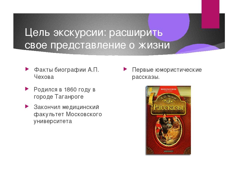 Цель экскурсии: расширить свое представление о жизни великого писателя Факты...