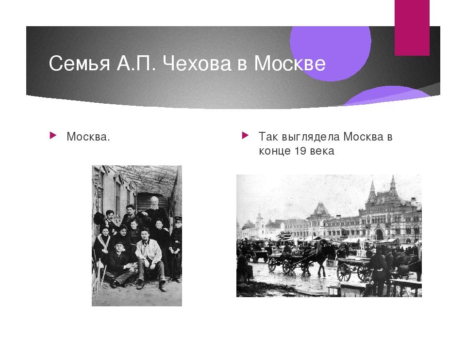 Семья А.П. Чехова в Москве Москва. Так выглядела Москва в конце 19 века