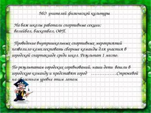 МО учителей физической культуры На базе школы работали спортивные секции: во