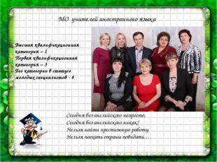 МО учителей иностранного языка Высшая квалификационная категория – 1 Первая