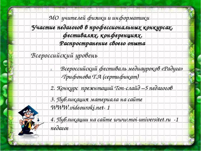 МО учителей физики и информатики Участие педагогов в профессиональных конкур...