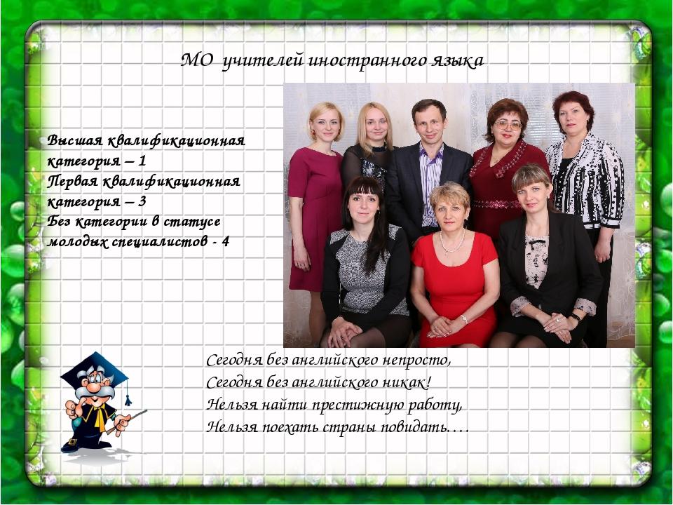 МО учителей иностранного языка Высшая квалификационная категория – 1 Первая...