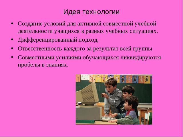 Идея технологии Создание условий для активной совместной учебной деятельности...