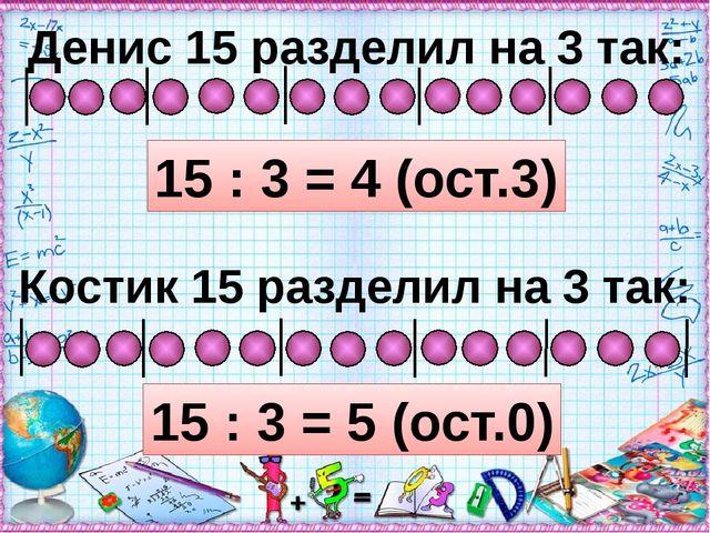 Денис 15 разделил на 3 так: 15 : 3 = 4 (ост.3) Костик 15 разделил на 3 так:...