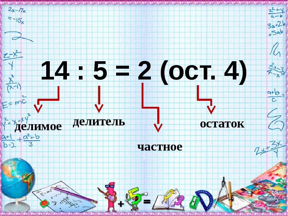 14 : 5 = 2 (ост. 4) частное остаток делимое делитель