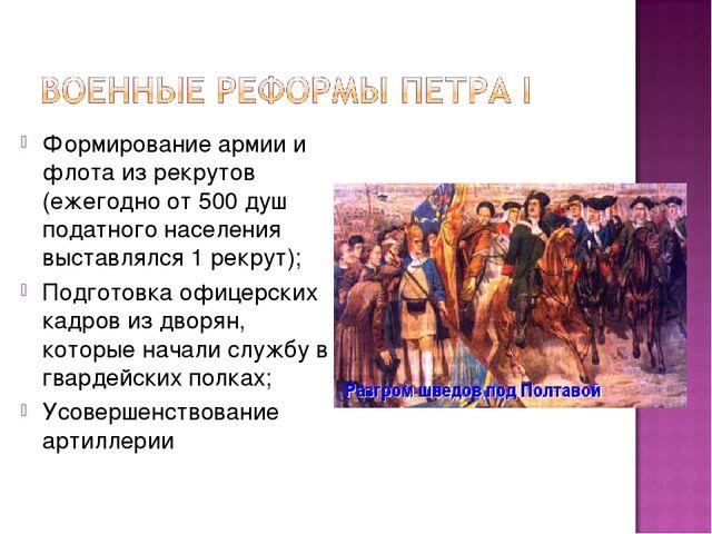 Формирование армии и флота из рекрутов (ежегодно от 500 душ податного населен...