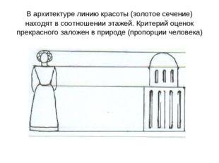 В архитектуре линию красоты (золотое сечение) находят в соотношении этажей. К