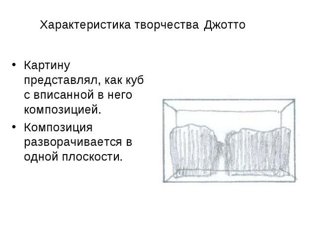 Характеристика творчества Джотто Картину представлял, как куб с вписанной в н...