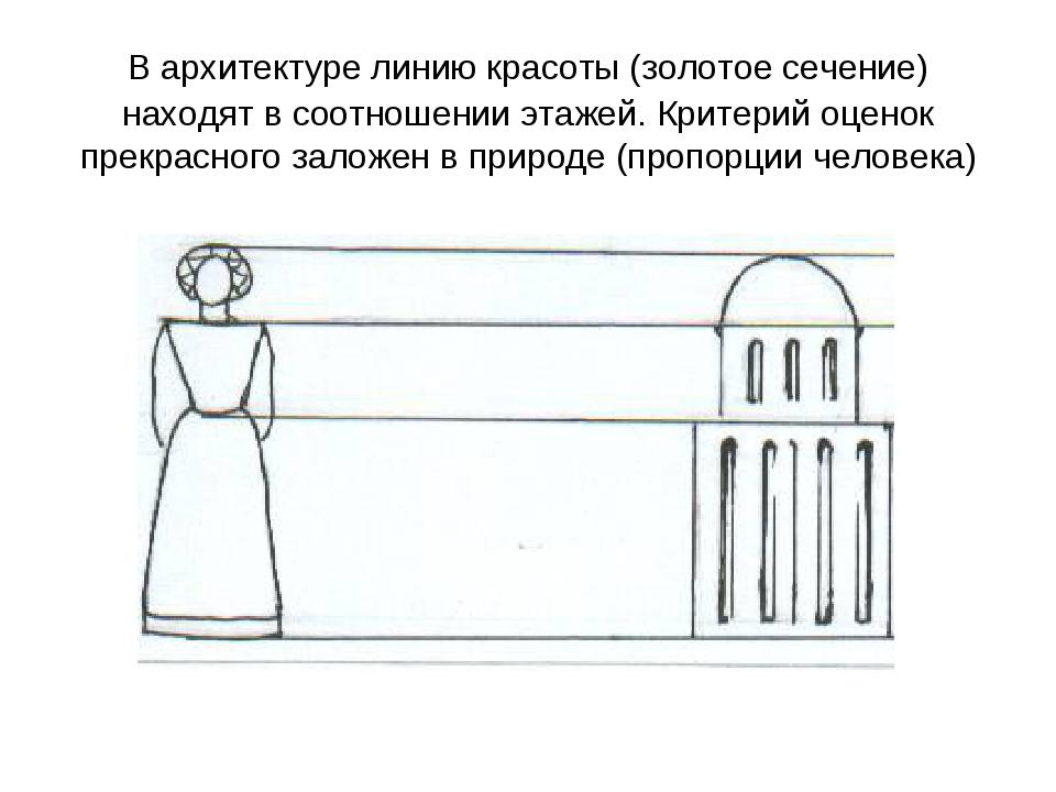В архитектуре линию красоты (золотое сечение) находят в соотношении этажей. К...