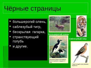 Чёрные страницы большерогий олень, саблезубый тигр, бескрылая гагарка, странс