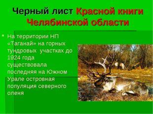 Черный лист Красной книги Челябинской области На территории НП «Таганай» на г