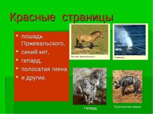 Красные страницы лошадь Пржевальского, синий кит, гепард, полосатая гиена и д