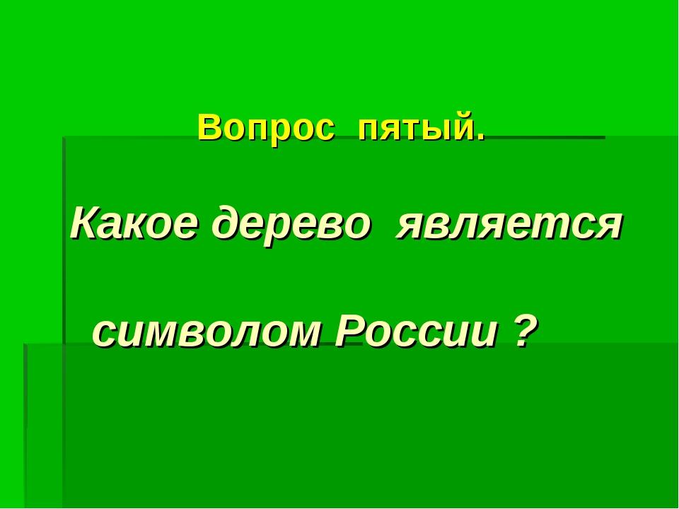 Вопрос пятый. Какое дерево является символом России ?