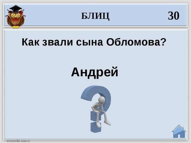 Андрей Как звали сына Обломова? БЛИЦ 30