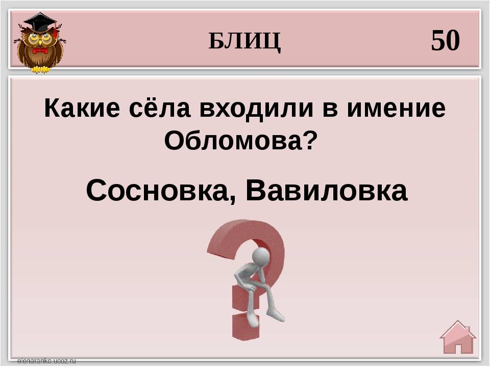 БЛИЦ 50 Сосновка, Вавиловка Какие сёла входили в имение Обломова?