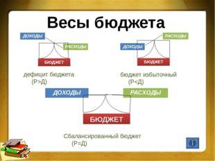 Весы бюджета дефицит бюджета (Р>Д) ДОХОДЫ РАСХОДЫ БЮДЖЕТ бюджет избыточный (Р