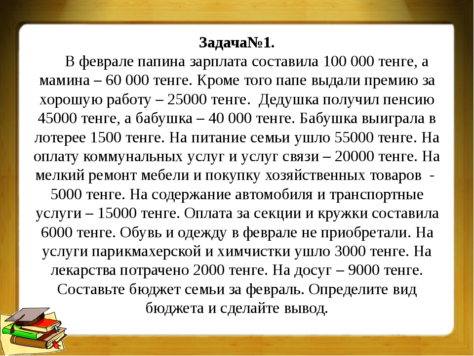Задача№1. В феврале папина зарплата составила 100 000 тенге, а мамина – 60 00...