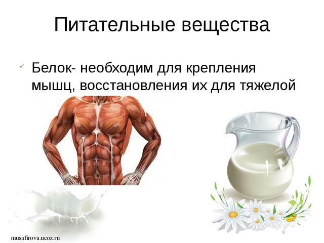 musafirova.ucoz.ru Питательные вещества Белок- необходим для крепления мышц,...