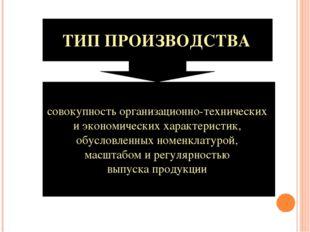 ТИП ПРОИЗВОДСТВА совокупность организационно-технических и экономических хара