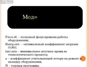 Мод= Fпол.об. – полезный фонд времени работы оборудования; Кзагр.опт. – оптим