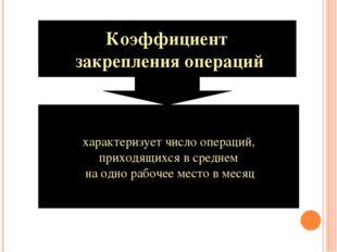 Коэффициент закрепления операций характеризует число операций, приходящихся в