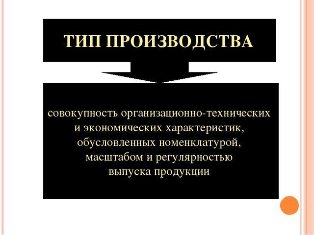 ТИП ПРОИЗВОДСТВА совокупность организационно-технических и экономических хара...