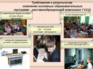 ориентир для оценки состояния системы общего образования Требования к резуль