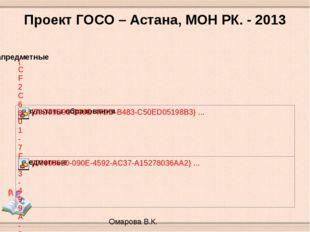 Проект ГОСО – Астана, МОН РК. - 2013 Омарова В.К.