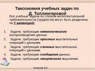 Таксономия учебных задач по Д. Толлингеровой Все учебные задачи по степени и