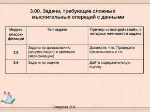 3.00. Задачи, требующие сложных мыслительных операций с данными Омарова В.К.