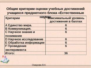 Общие критерии оценки учебных достижений учащихся предметного блока «Естеств