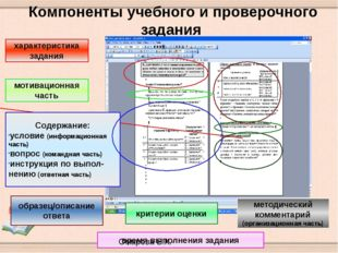 Компоненты учебного и проверочного задания характеристика задания мотивацион