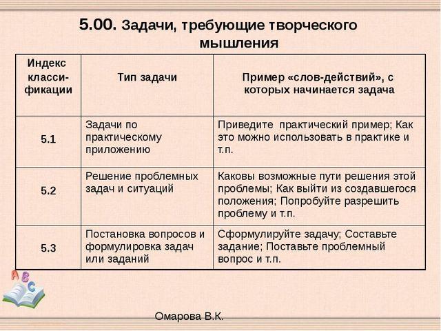 5.00. Задачи, требующие творческого мышления Омарова В.К. Индекс класси-фикац...