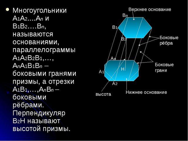 Многоугольники А1А2....Аn и В1В2….Вn, называются основаниями, параллелограммы...