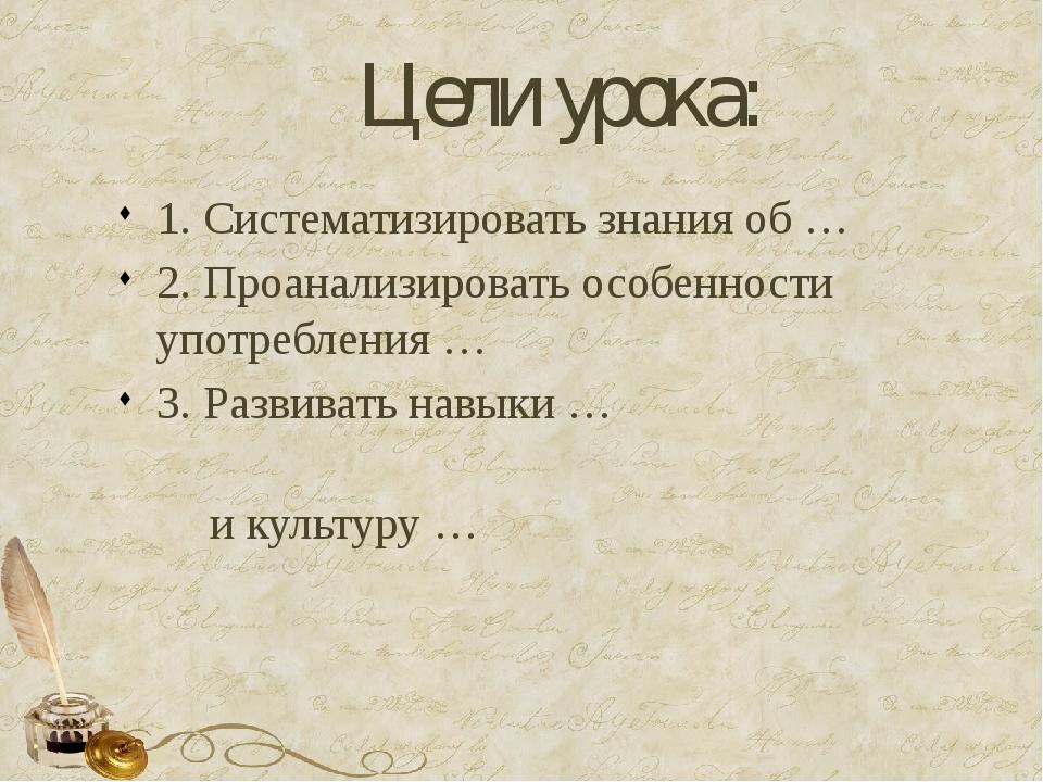 Цели урока: 1. Систематизировать знания об … 2. Проанализировать особенности...