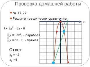 Проверка домашней работы № 17.27 Решите графически уравнение: в) - парабола -