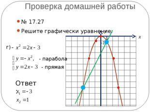 Проверка домашней работы № 17.27 Решите графически уравнение: г) - парабола -