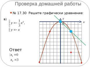 Проверка домашней работы № 17.30 Решите графически уравнение: в) -1 1 х у Отв