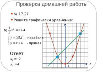 Проверка домашней работы № 17.27 Решите графически уравнение: б) - парабола -