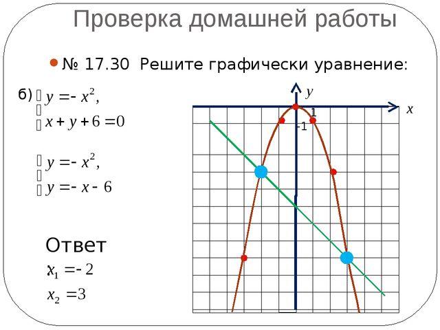 Проверка домашней работы № 17.30 Решите графически уравнение: б) -1 1 х у Отв...