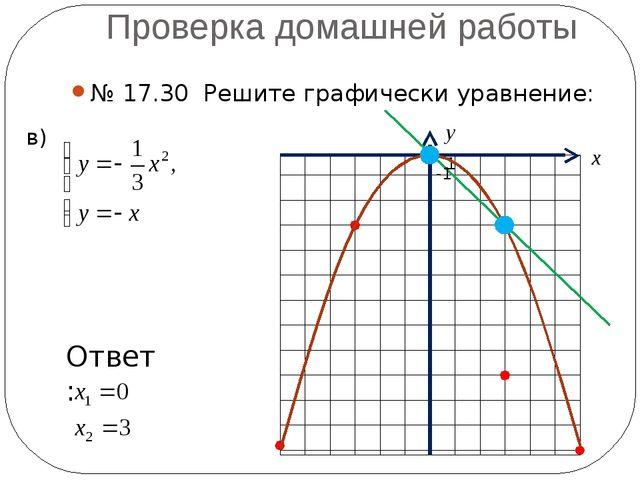 Проверка домашней работы № 17.30 Решите графически уравнение: в) -1 1 х у Отв...