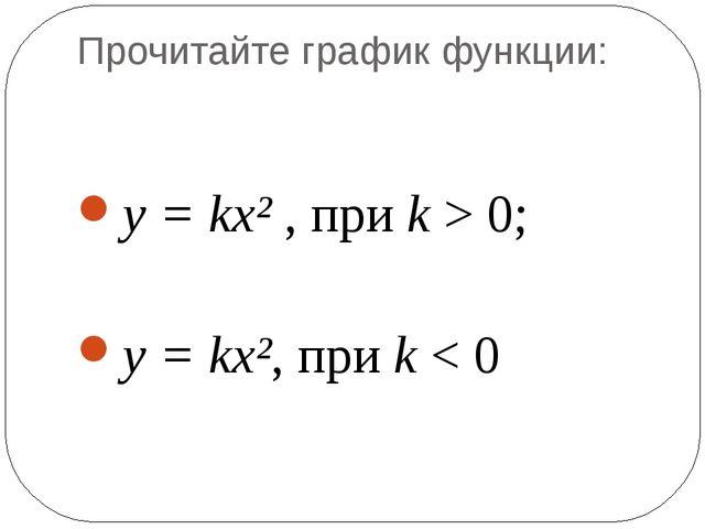 Прочитайте график функции: у = kх² , при k > 0; у = kх², при k < 0