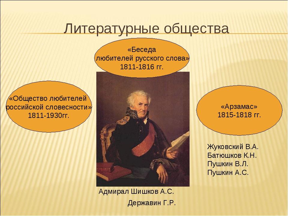 Литературные общества «Общество любителей российской словесности» 1811-1930гг...