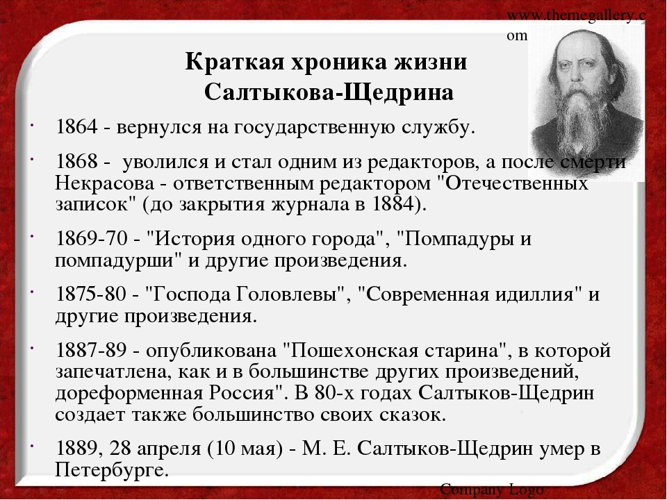 www.themegallery.com Company Logo Краткая хроника жизни Салтыкова-Щедрина 186...