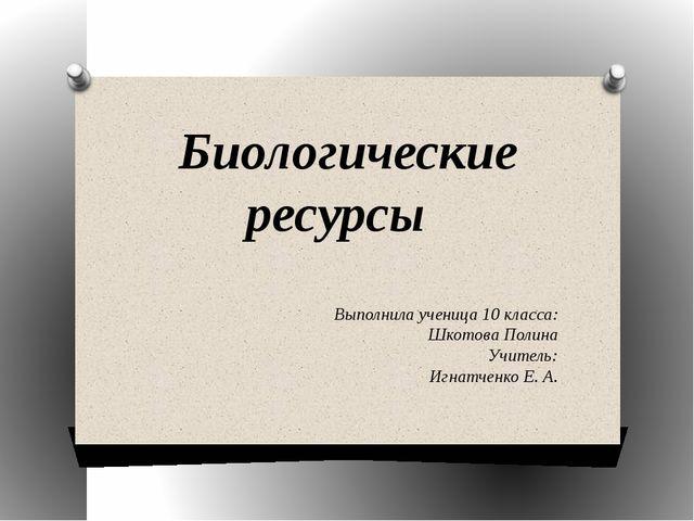 Биологические ресурсы Выполнила ученица 10 класса: Шкотова Полина Учитель: Иг...