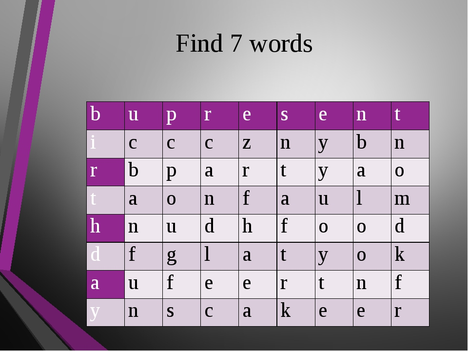 Find 7 words b u p r e s e n t i c c c z n y b n r b p a r t y a o t a o n f...