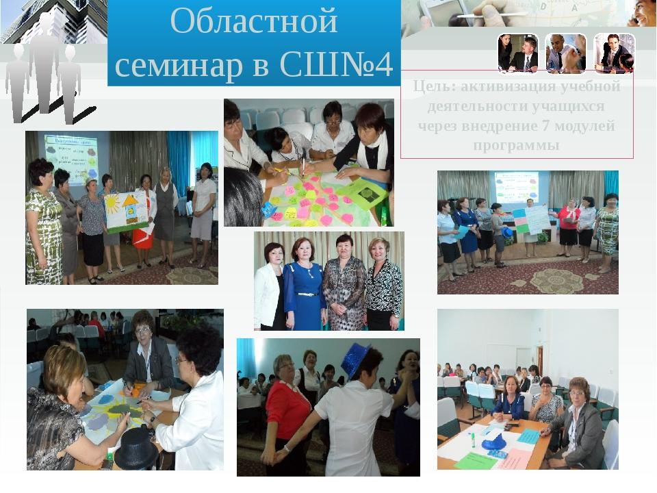 Цель: активизация учебной деятельности учащихся через внедрение 7 модулей про...